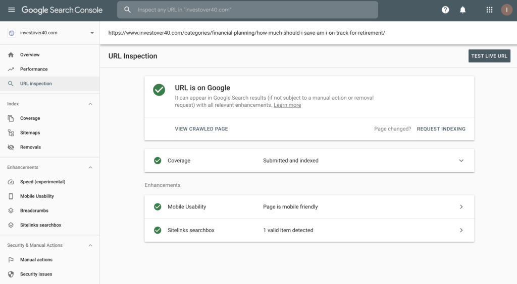 Google Search Console Site Indexing For SEO